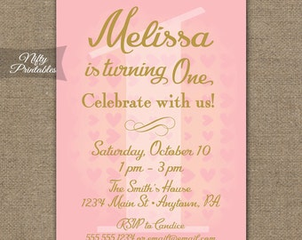 1st Birthday Invitations - 1st Birthday Party Invitation - Printable Pink Gold First Birthday Invites - Girls Pink & Gold 1st Birthday Party