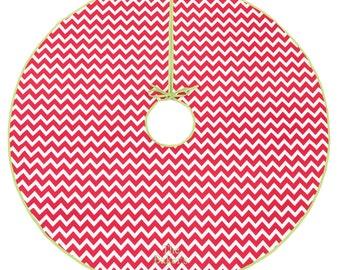 Personalized chevron strip Valentines Tree skirt. Monogrammed Xmas tree skirt *