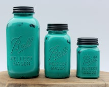 3 Piece Teal Mason Jar Canister Set Kitchen Distressed half gallon quart pint