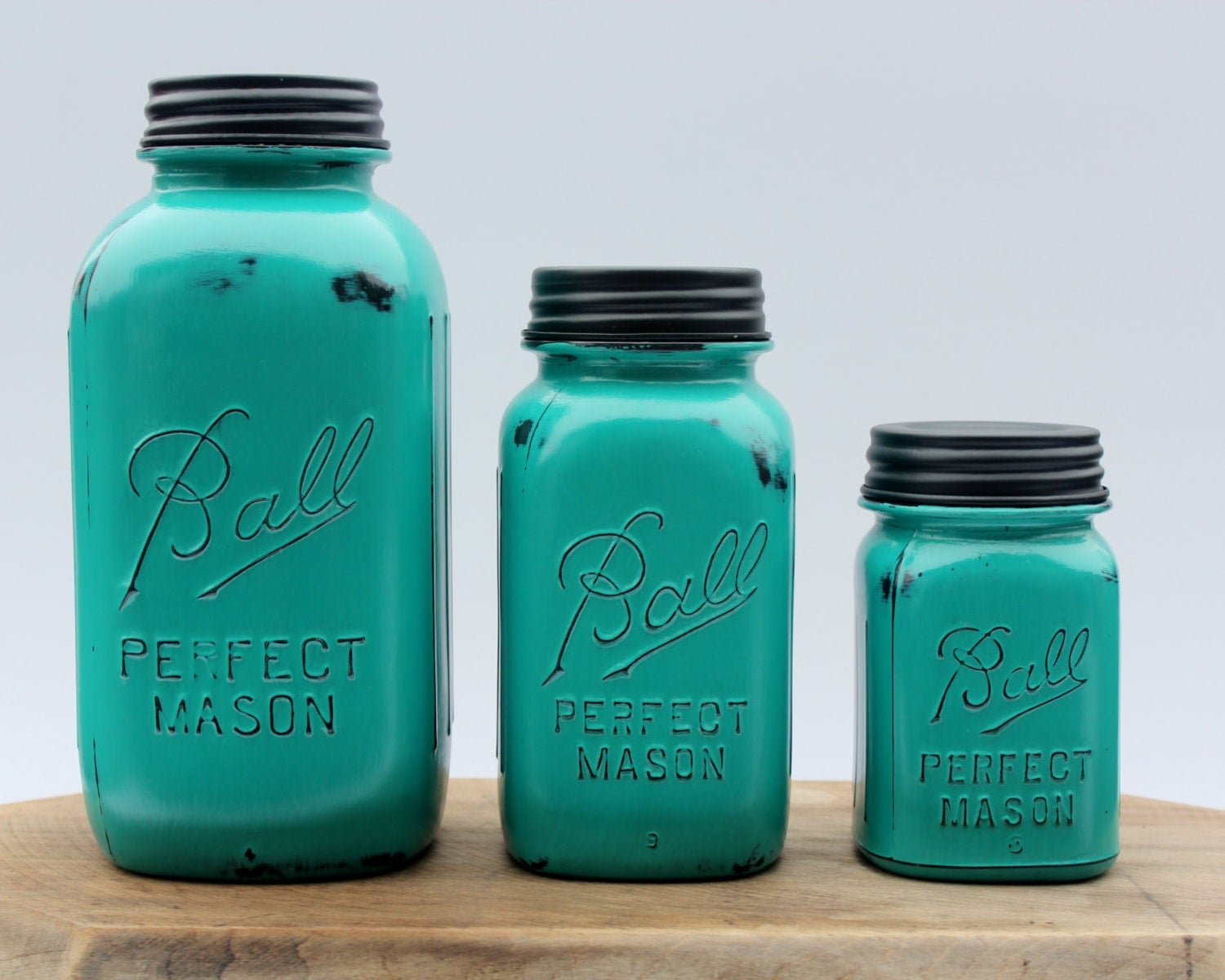 Country canister sets for kitchen - 3 Piece Teal Mason Jar Canister Set Kitchen Distressed Half Gallon Quart Pint