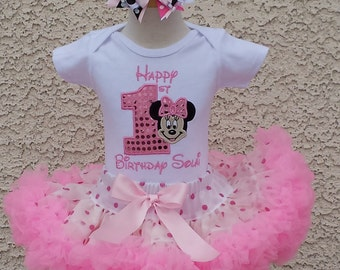 Happy Birthday Minnie Mouse Number Pettiskirt -Personalized Birthday Pettiskirt,Sizes 6m - 14/16