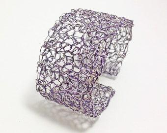 Crochet wire cuff bracelet. Silver and purple handmade wire crochet bracelet. Magnetic clasp. Handmade crochet wire jewelry
