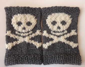 Knitted Boot Cuffs With Cream Skull Socks Boot Topper Leg Choose Your Color