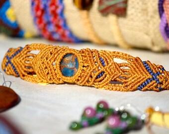 Beautiful Handmade Golden Aqua Quartz Macrame Bracelet