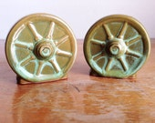 Vintage Frankoma Wagon Wheel Salt and Pepper Shaker Set - Frankoma Pottery Prairie Green Clay Salt and Pepper Shakers