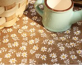 Laminated Cotton Fabric Mini Flower Brown By The Yard