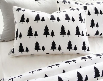 Cotton Fabric Black Tree on White By The Yard
