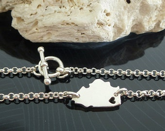 Sterling Silver Illinois Bracelet / Custom Heart / Small Illinois Bracelet / Love Illinois / State Bracelet / Illinois Wedding