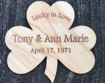 Lucky in Love Personalized St. Patrick's Day Magnet:Shamrock Magnet/Engagement Gift/Sprig Wedding Gift/