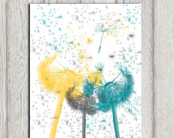 Nursery flowers printable Yellow gray teal nursery decor Dandelion seeds Little girls bedroom wall art Gift idea 5x7 8x10 11x14 DOWNLOAD