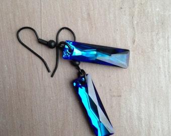 Swarovski bermuda blue rectange crystal earrings