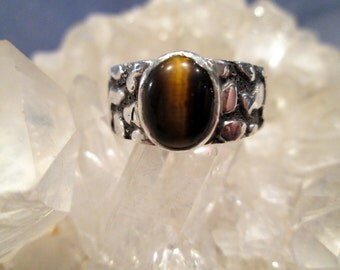 Tigereye Ring ~Sterling Silver~  Hand Cast w/ Nugget Design