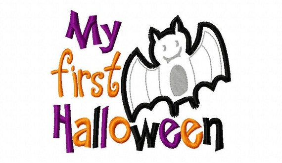 My First Halloween Bat Applique Machine Embroidery Design 4x4 and 5x7