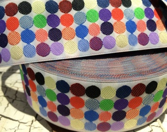 """1.5"""" Woven PREPPY Multicolored Polka DOT Jacquard ribbon sold by the yard"""