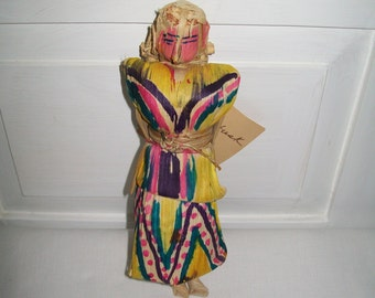 Vintage Handmade Corn Husk Doll made in Mexico for Save the Children Foundation