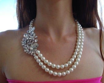 Wedding Bridal Statement Necklace.Double Strand Ivory Glass Pearl Jewelry.Pretty Bridal Flower Brooch Pin.Perfect for any Occassion.