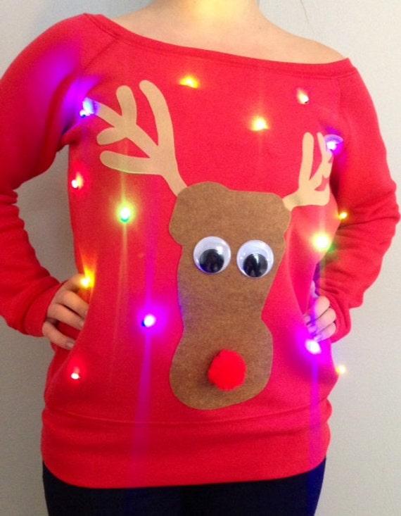 Woman's UGLY CHRISTMAS SWEATER - Reindeer- Light Up