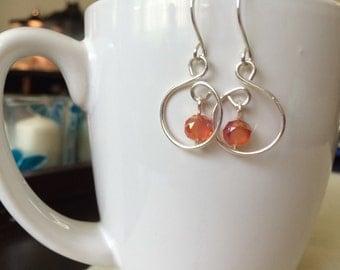 handmade sterling silver and orange earrings