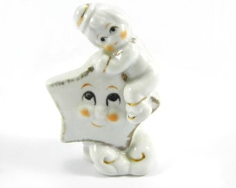 Vintage Kitsch Little Boy Hugging Star on Cloud Figurine