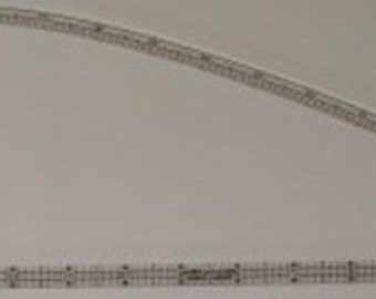 """Curved standard ruler for 3/8"""" pattern drafting, tracing and adding seam allowances"""