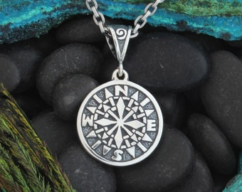 Sterling Silver, Hand Carved Polaris-Compass Pendant
