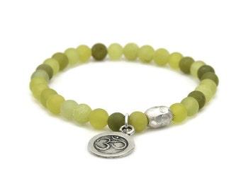 Olive Jade Bracelet, Serepentine Beaded Bracelet, OM charm, Beaded Jewelry