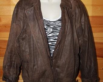 Vintage 80's Genuine Distressed Brown Leather Jacket  * Made by Split End Ltd  * Ladies Medium * Bomber Style Jacket Coat