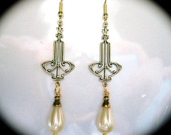 Art Deco earrings vintage 1920s bride long cream pearl drop Art Nouveau earrings Edwardian earrings bridal pearl earrings wedding earrings