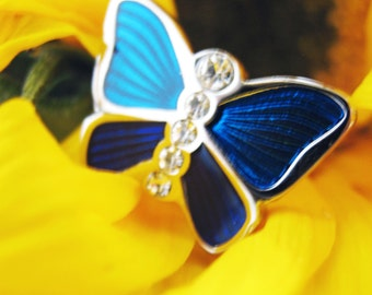 Artistic Impressions Butterfly Cufflinks Silver Toned Navy Blue Pop'n Pink Royal Purple Cuff Links