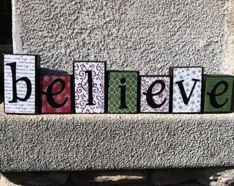 Christmas blocks - believe