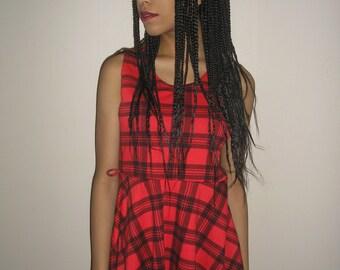 Vtg 90's CLUELESS SCHOOLGIRL black red plaid skater dress S