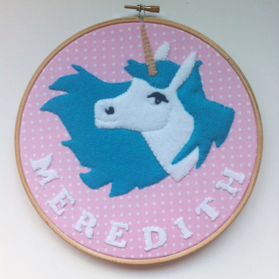 Unicorn embroidery hoop wall art personalised dorm room