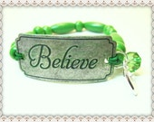 Inspirational Word Bracelet~BELIEVE Word  Bracelet~Inspirational Word Quote Bracelet~Apple Green Wood Beads On Stretch Cord