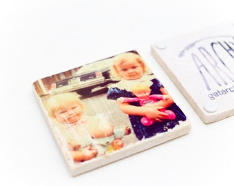 Custom marble tile coaster set of 4 - add your own photo or logo