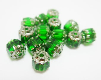 10 Czech Cathedral Beads Glass Dark Green 6mm 4055