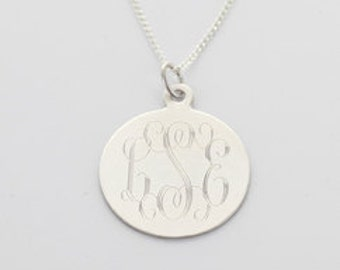 Round Sterling Silver Monogrammed Pendant in 925 silver or gold