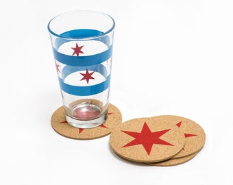 Chicago Flag Star Coasters - Set of 4