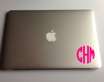 Block Monogram Decal for Macbook, macbook air decal, vinyl monogram, laptop decal
