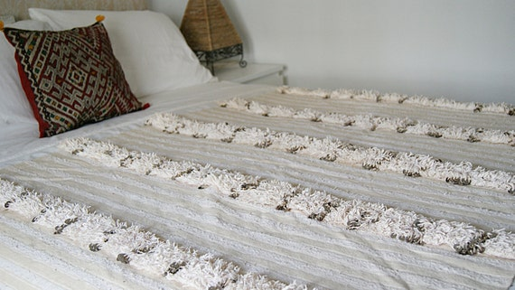 Traditional handira Moroccan wedding blanket by Just Morocco at Etsy