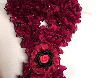Red Ruffle Scarf with Glittering sequins Gift For Her Anniversary Mother's day Gift Valentine's Day gift for her