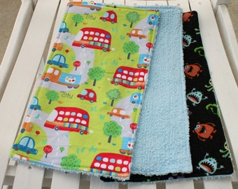 Three Chenille Burp Cloths, Car and Transportation, Friendly Monster or Alien Theme