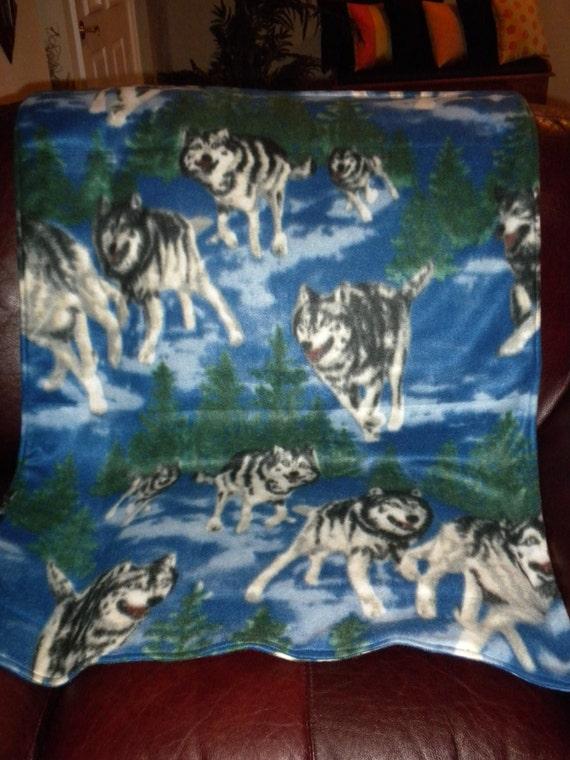 couverture en laine polaire chien husky avec 1 grande 2. Black Bedroom Furniture Sets. Home Design Ideas
