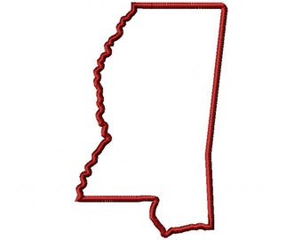 State of Mississippi applique design download - 5x7 hoop size