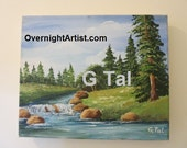 DIGITAL Instant  DOWNLOAD  printed landscape acrylic DIY by youtube video from original painting artist g tal