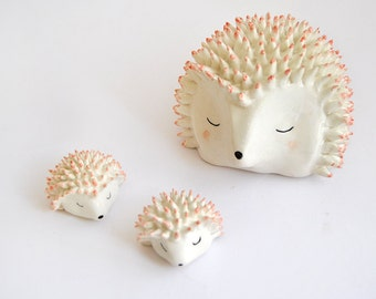 Ceramic Hedgehog Figure in White Clay and Decorated with Pigments in Pink. Ready To Ship