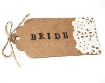 Hand Stamped Scalloped Kraft, Doily Wedding Place Card Tag With Twine Bow