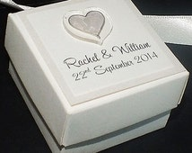 Personalised Wedding Favour Box, ivory, cream and available in any other colour