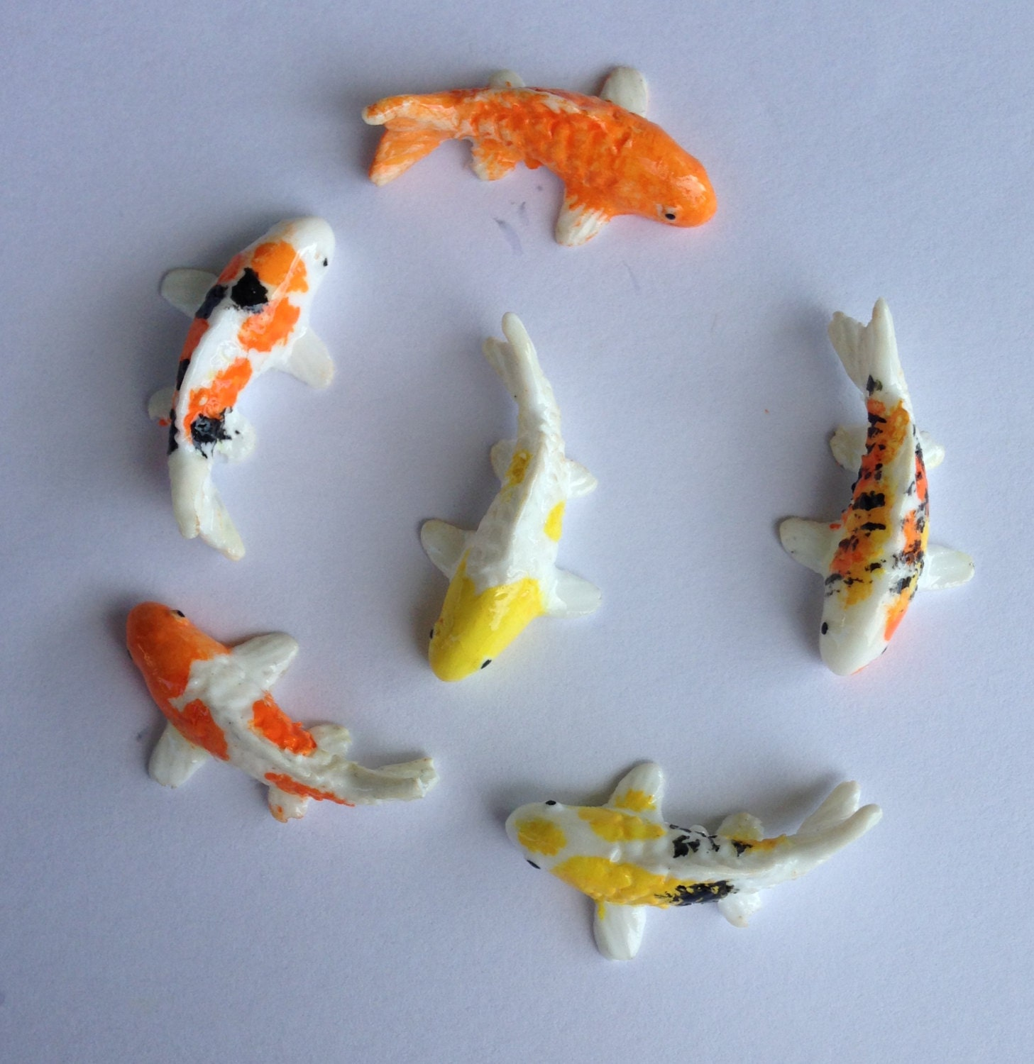 6 miniature koi fish for fairy garden or miniature set pond for Mini koi fish