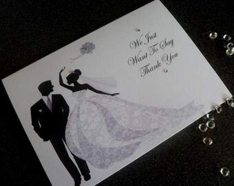 Handmade Personalised Wedding Thank You Cards Inc Envelopes