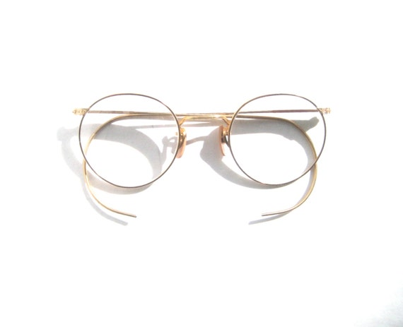 Eyeglass Frames Wire Rim : Steampunk Antique Marshwood P3 Gold Filled Wire Rim Eyeglasses